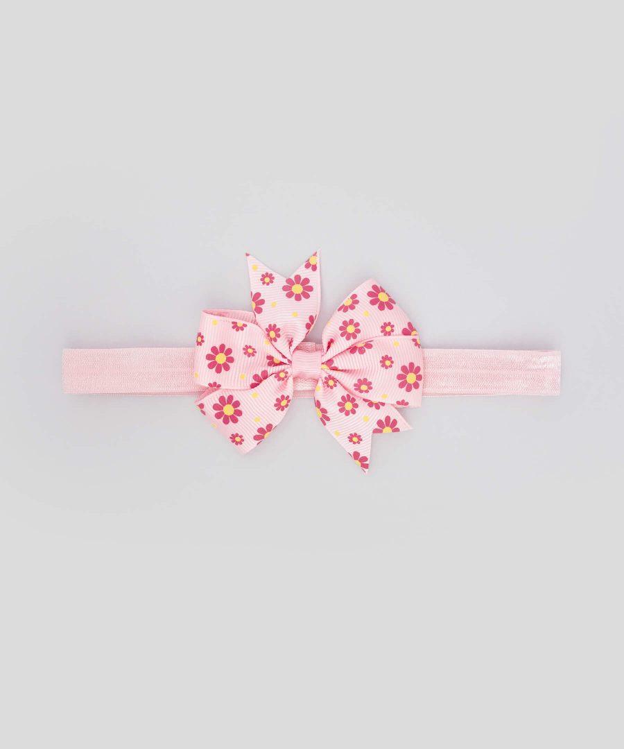 бебешка и детска лента за коса с панделка в розово с цветен принт