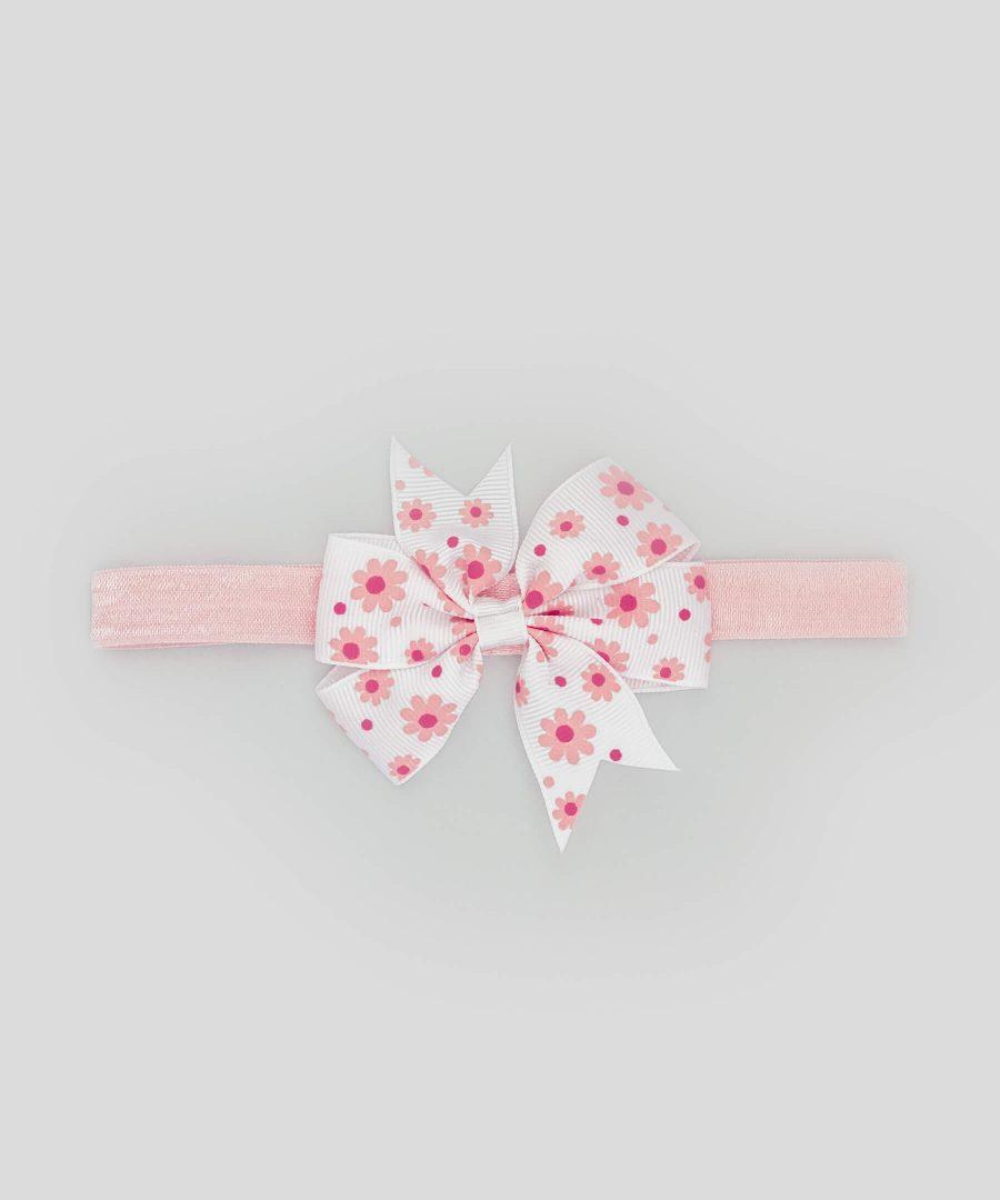 бебешка и детска лента за коса с панделка в розово и бяло с цветен принт