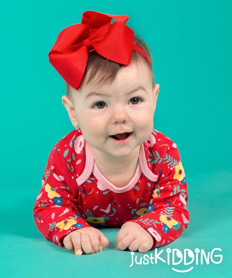 бебешка и детска лента за коса с голяма панделка в червен цвят