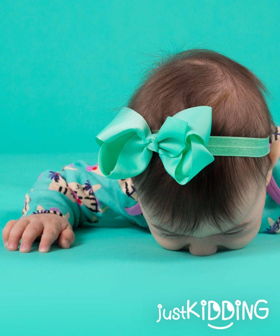 бебешка и детска лента за коса с панделка в цвят тюркоаз