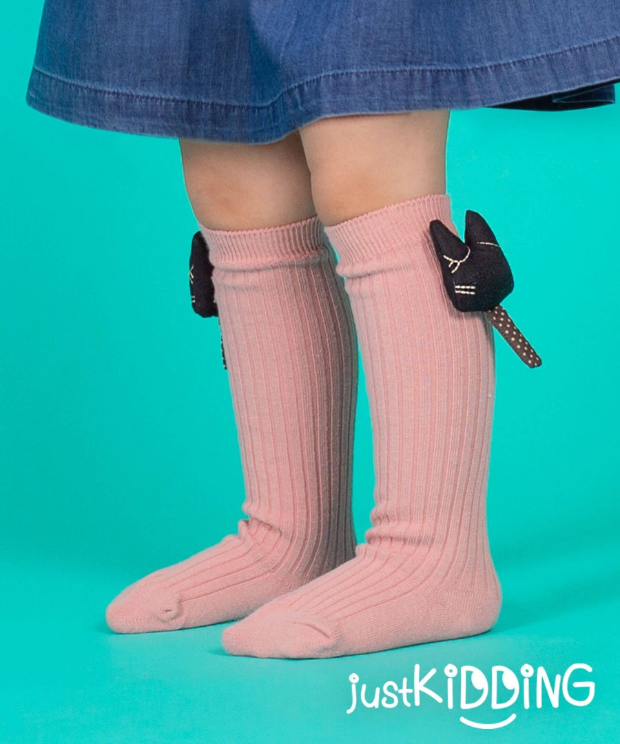 Детски високи чорапи с коте