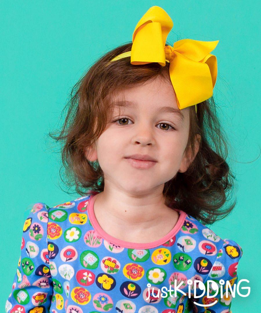 бебешка и детска лента за коса с голяма панделка в жълт цвят