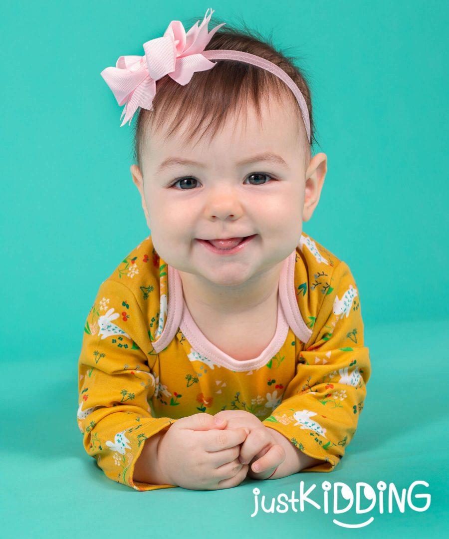 бебешка и детска лента за коса със сложна панделка в бледо розово