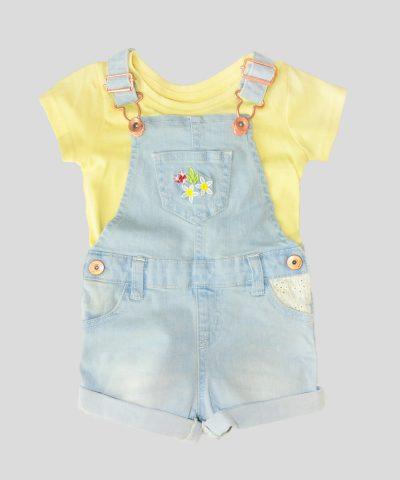 Бебешки и детски дънков гащеризон с тениска за момиче