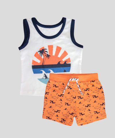 Бебешки и детски комплект с акули по залез за момче