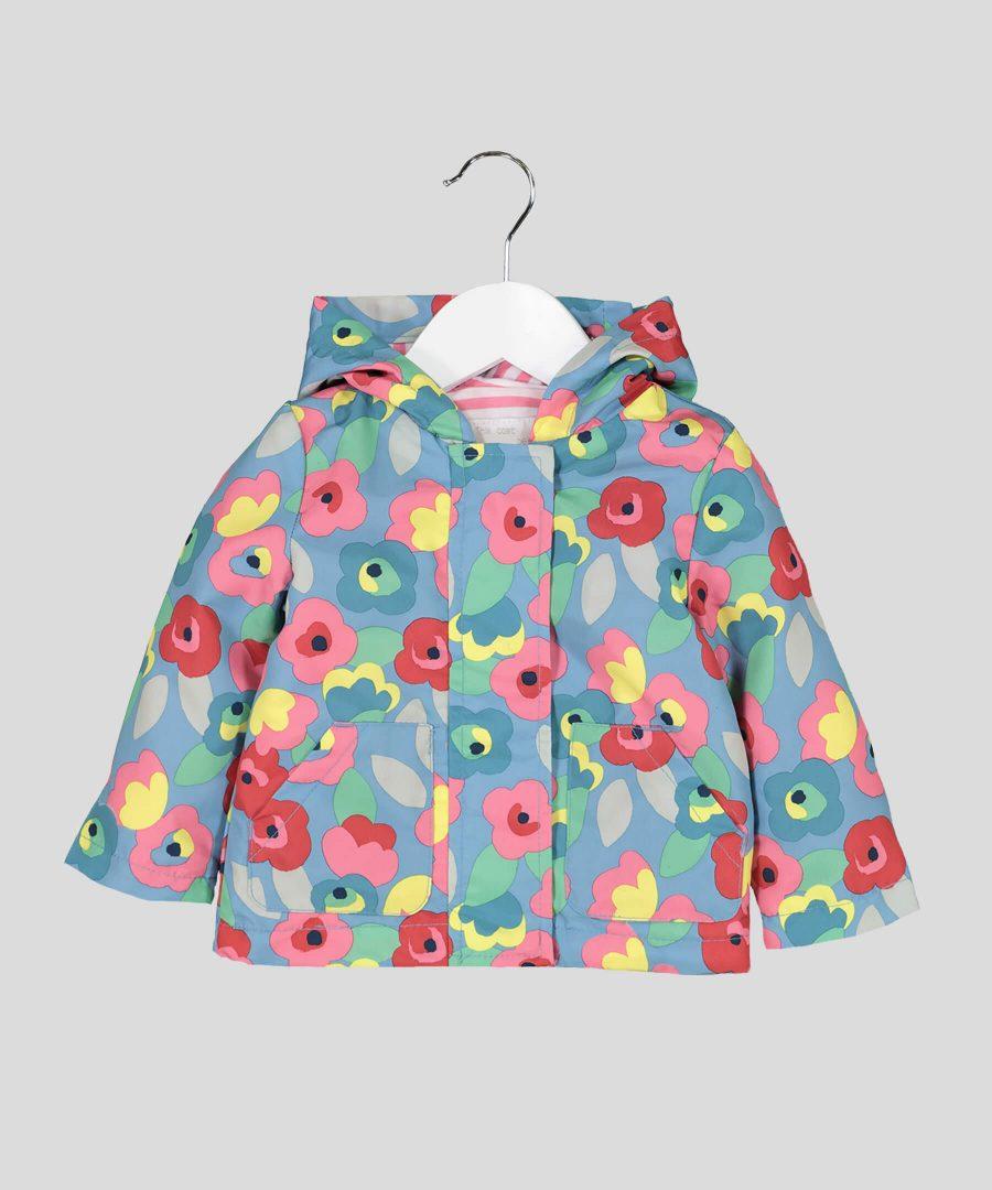 Бебешко и детско яке за дъжд с цветя за момиче