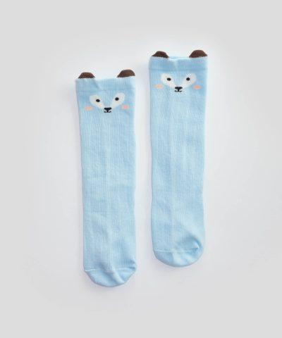 Бебешки и детски високи чорапи в светлосин цвят
