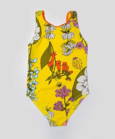 бебешки цял бански в жълт цвят за момиче
