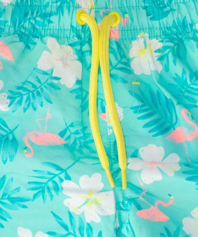 детски бански с цветя и фламинго за момче