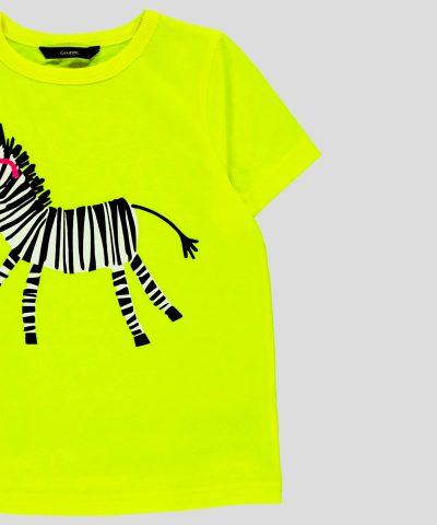 Детска тениска неон със зебра за деца от 1г. до 6г.