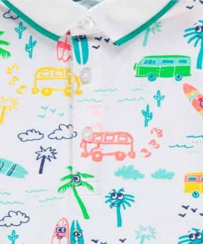 Детска тениска с яка vacation от 100% памук за момчета от 1г. до 6г.