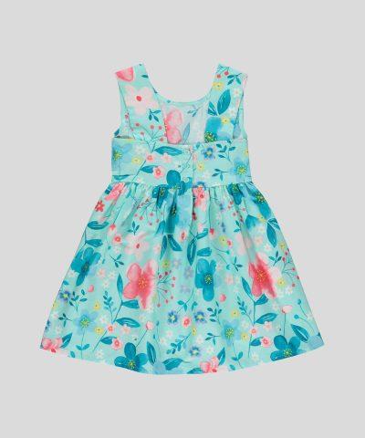 детска рокля с цветя в цвят тюркоаз
