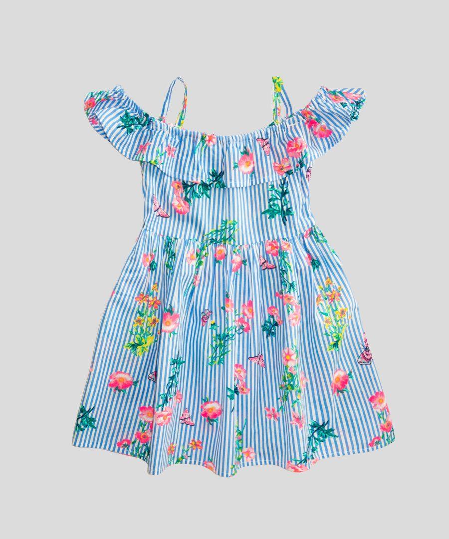 детска лятна рокля райе с тънки презрамки