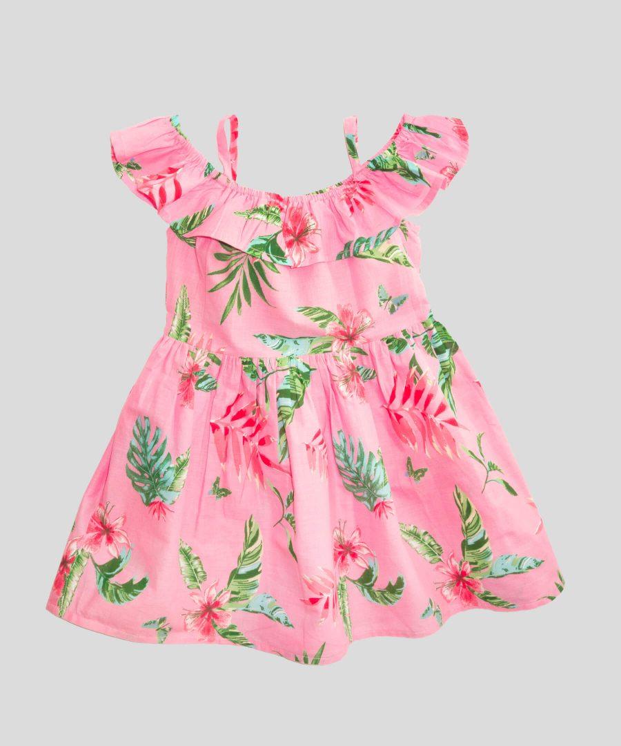 детска рокля с тънки презрамки в розов цвят