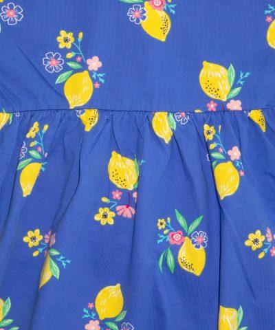 Детска памучна рокля с лимони с къс ръкав