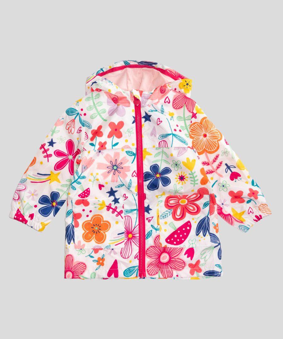 бебешко и детско тънко водоустойчиво яке с цветя
