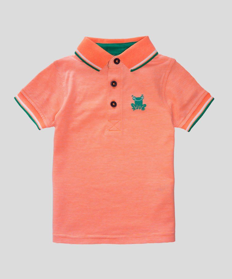 Детска тениска с яка неон за момче