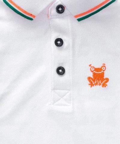 Детска тениска с яка в бял цвят за момче