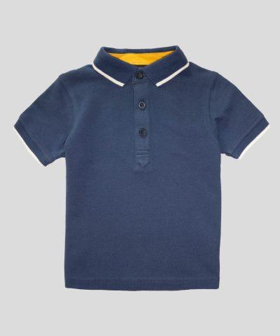детска тениска с яка в тъмносин цвят за момче