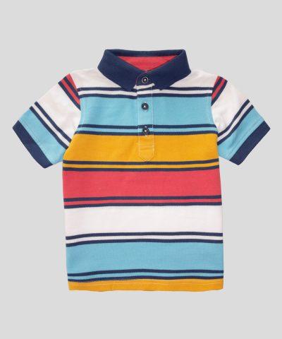 детска тениска с яка в цветно райе за момче