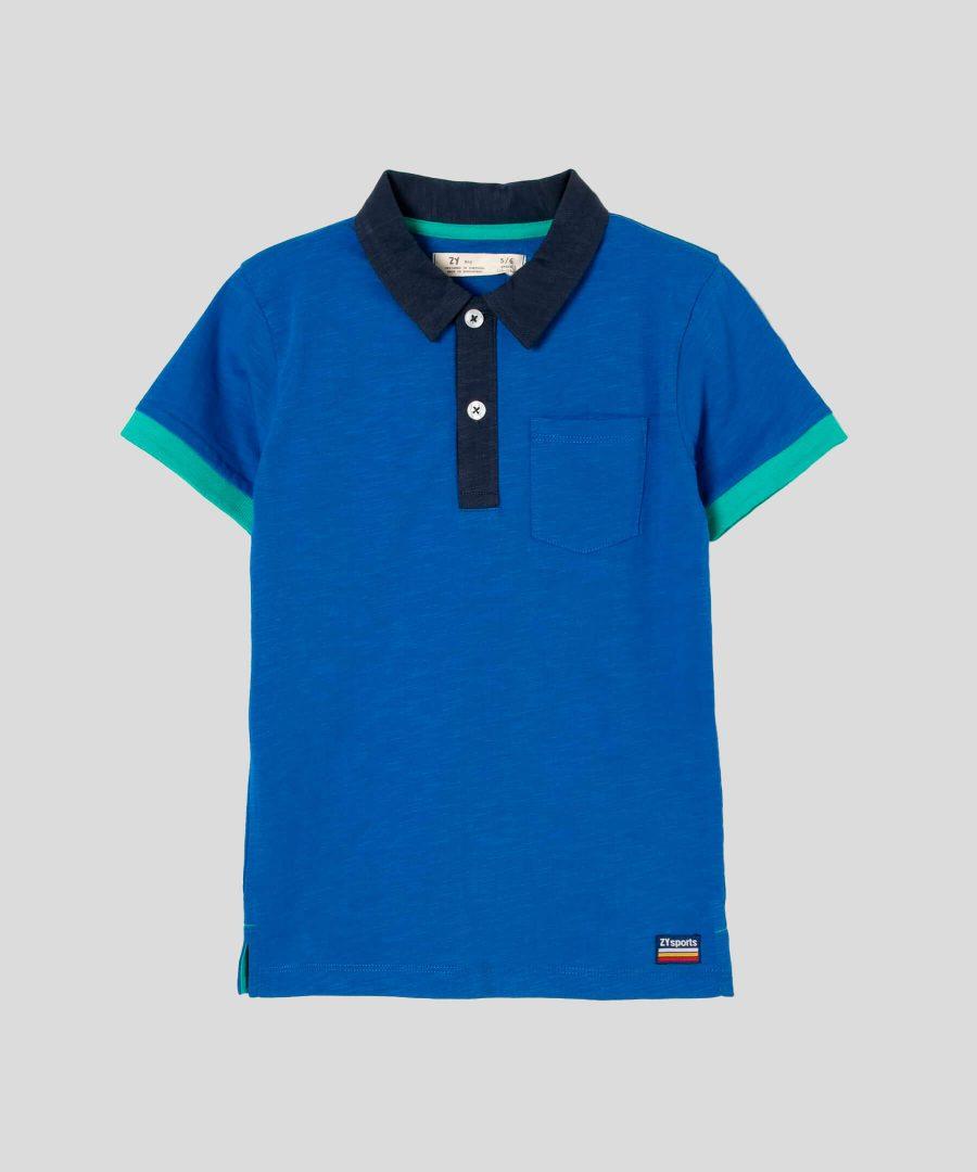 детска тениска с яка в син цвят за момче