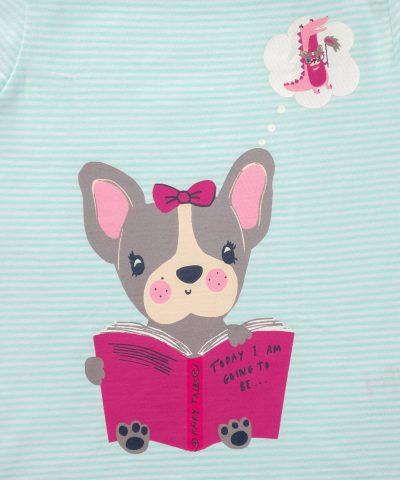 Детски комплект пижами с кученца за момиче