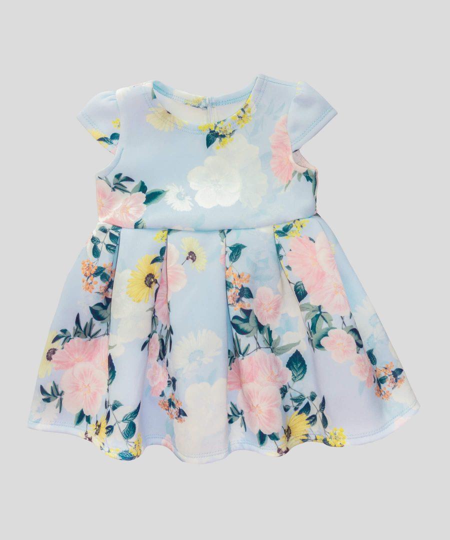 Бебешка и детска елегантна рокля в син цвят с цветя