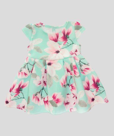 Бебешка и детска елегантна рокля в цвят тюркоаз с цветя