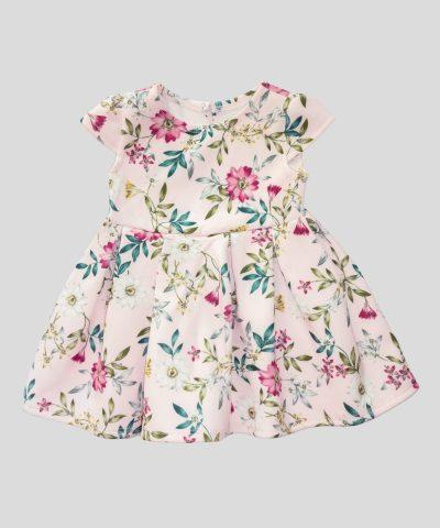 Бебешка и детска елегантна рокля в розов цвят с цветя