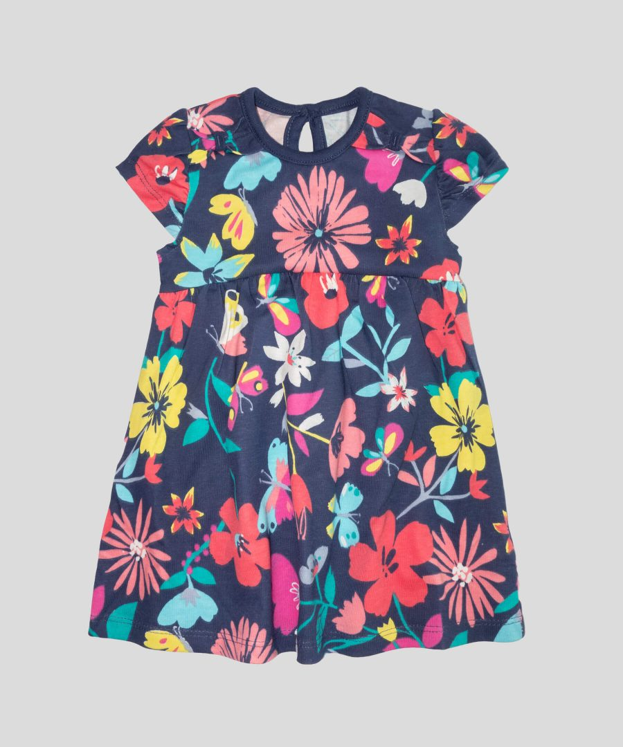 Памучна рокля с цветя за бебе