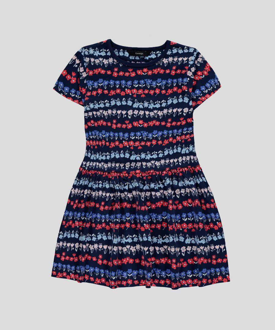 Детска памучна рокля в тъмносин цвят