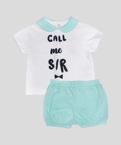 комплект блузка с къс ръкав и къси панталонки за новородено бебе момче