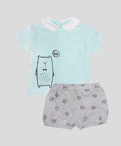 комплект блузка с къс ръкав и къси панталонки за новородено бебе момиче или бебе момче