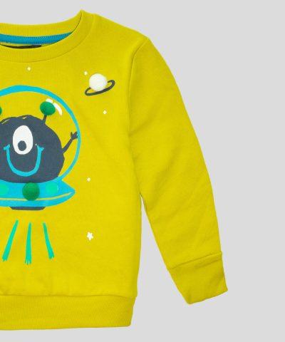детски Суитчър с извънземно в цвят горчица за момче