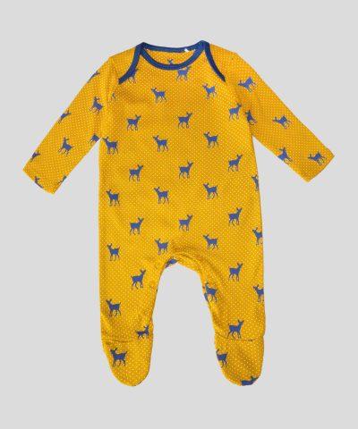 бебешки гащеризон със сърнички в цвят горчица