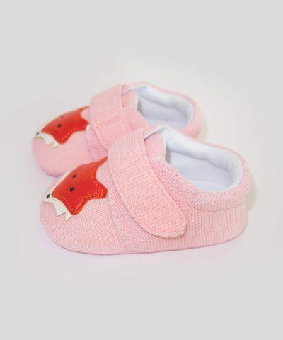 бебешки пантофки с лисица в розов цвят