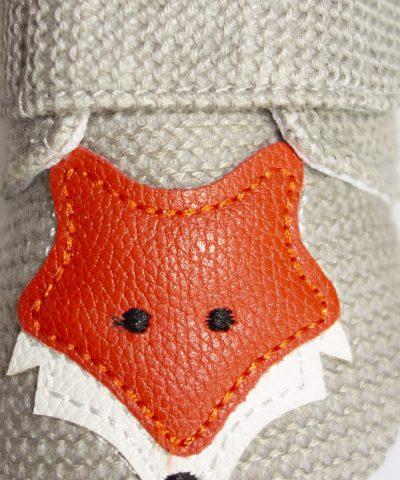 бебешки пантофки с лисица в сив цвят