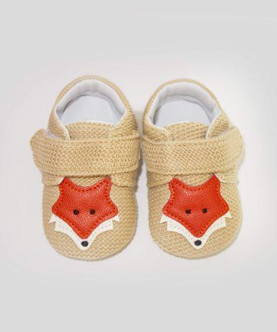 бебешки пантофки с лисица в бежов цвят