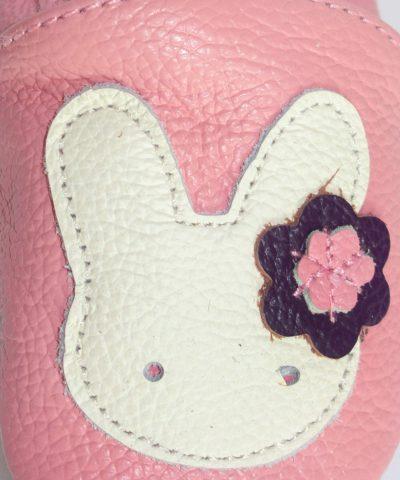 Бебешки и детски кожени пантофки със зайче