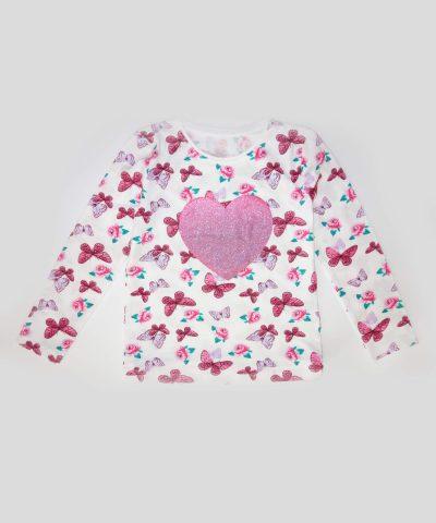 Детска блуза със сърце и пеперуди за момиче