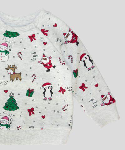 Бебешка и детска Коледна ватирана блуза