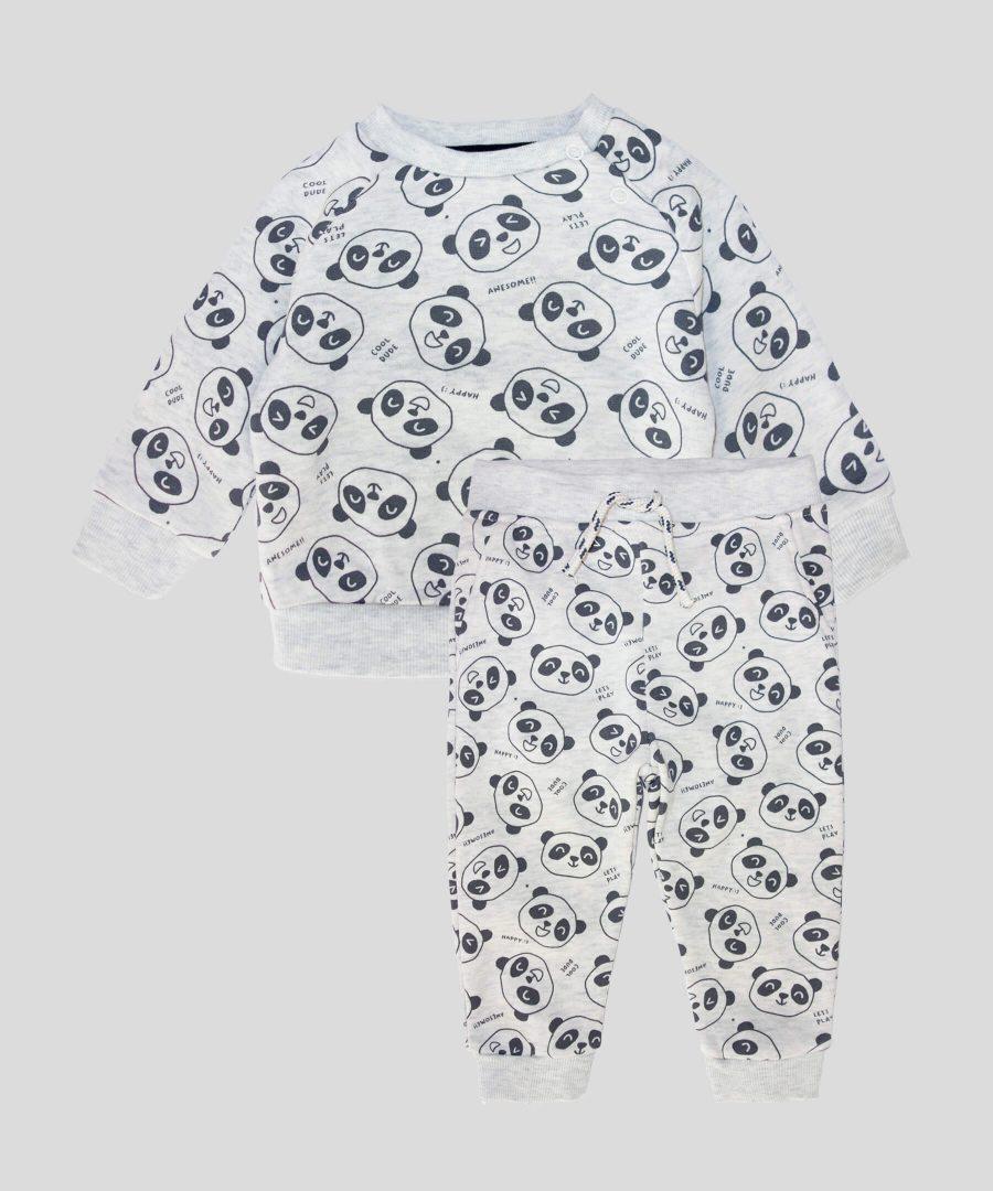 Бебешки и детски ватиран комплект с панди за момче