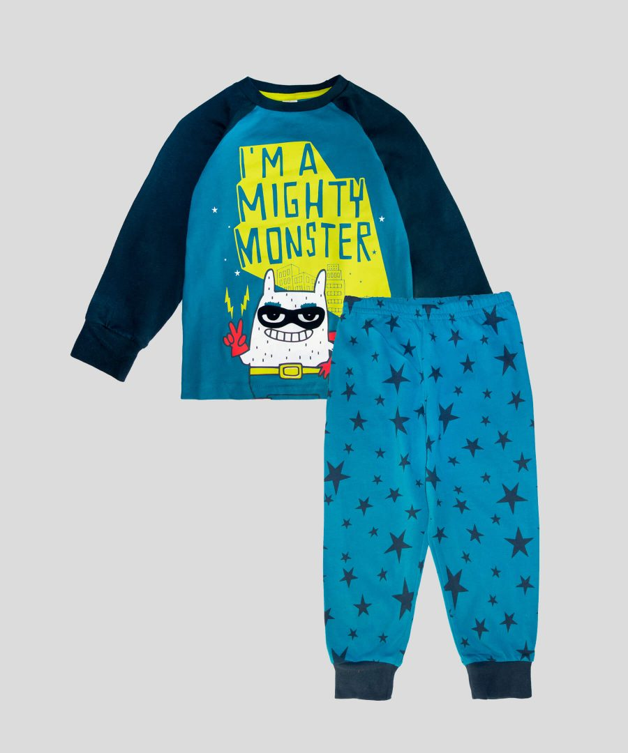Детска пижама Mighty Monster от био памук за момче