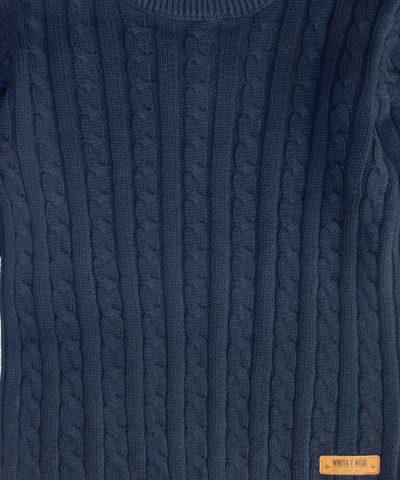 Детски памучен пуловер в тъмносин цвят за момче