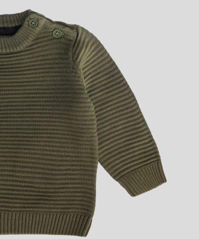 Бебешки и детски пуловер в тъмнозелен цвят