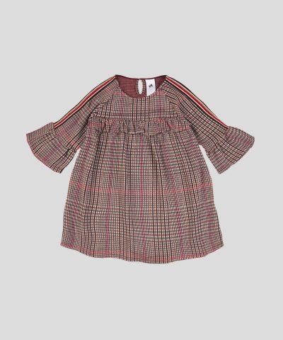 Детска рокля каре с 3/4 ръкави