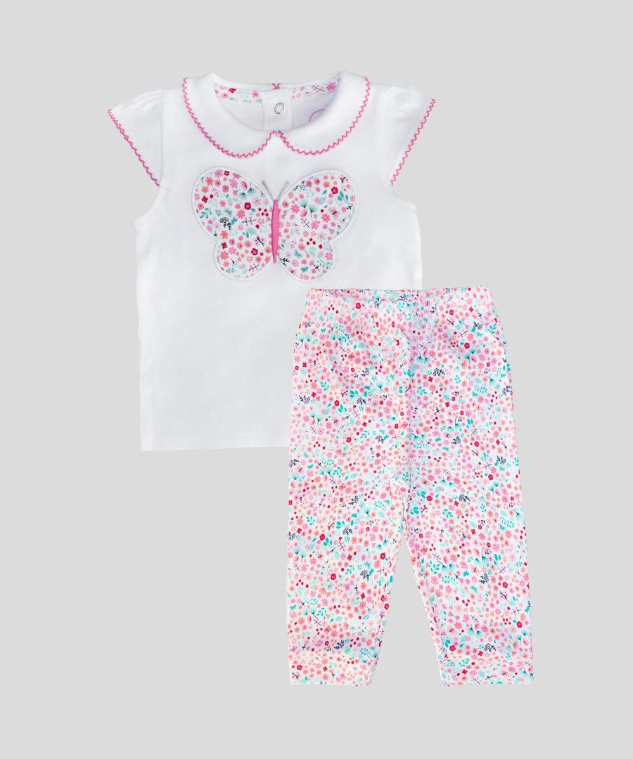 Бебешки и детски комплект с пеперуда и цветя от био памук за момиче