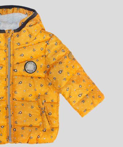 бебешко и детско Яке с качулка в цвят горчица с цветя за момиче