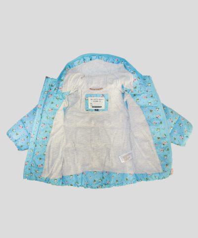 бебешко и детско Яке с качулка в син цвят с цветя за момиче