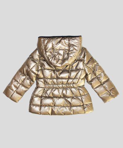 Детско яке с качулка в бронзов металик за момиче
